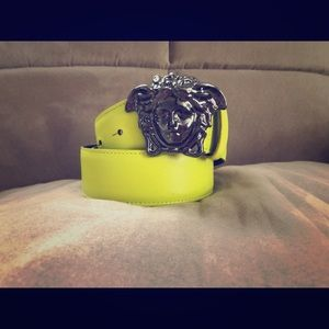 Versace Lime Green Saffiano Leather  Palazzo Belt